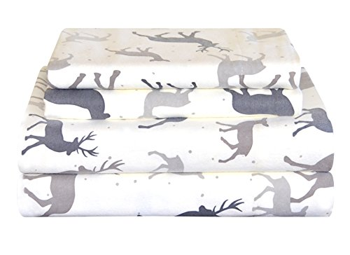 "Pointehaven Heavy Weight Flannel Sheet Set, Full, Autumn Deer - 170GSM / 5 oz. Flannel Fits Mattresses up to 18"" 4 piece set includes: 1 flat sheet, 1 fitted sheet, 2 pillowcases. Fitted Sheet: 54 inches x 75 inches x 16 inches; Flat Sheet: 84 inches x 100 inches; Pillow Cases: 21 inches x 30 inches - sheet-sets, bedroom-sheets-comforters, bedroom - 417IL j9ZeL -"