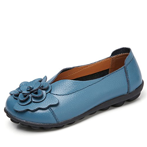 Z-joyee Women's Slip-On Loafer Shoes Casual Driving Leather Flat Moccasin Shoes Blue