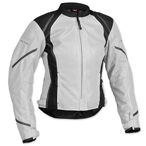 Firstgear Mesh-Tex Women's Motorcycle Riding Jacket (Silver, X-Small) -
