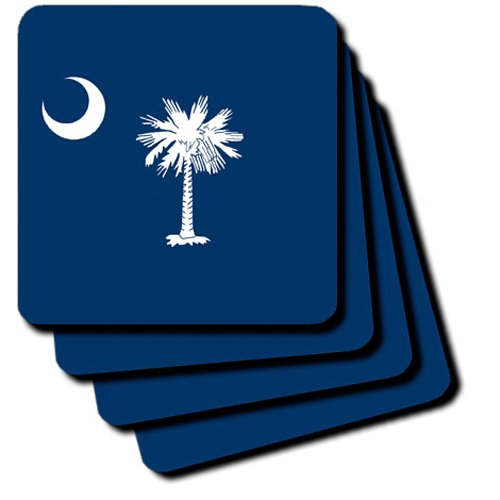 3dRose cst/_55323/_2 State Flag of South Carolina Soft Coasters Set of 8