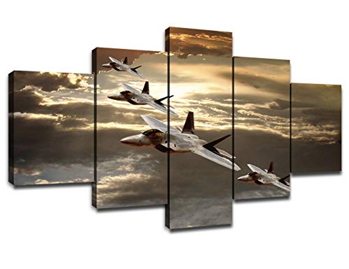 Chicicio US Military Aircraft Pictures Jet Fighter Wall Art Paintings Decorations for Living Room 5 Piece Canvas Art Stretched Framed Wall Decor for Bedroom(60''Wx32''H)