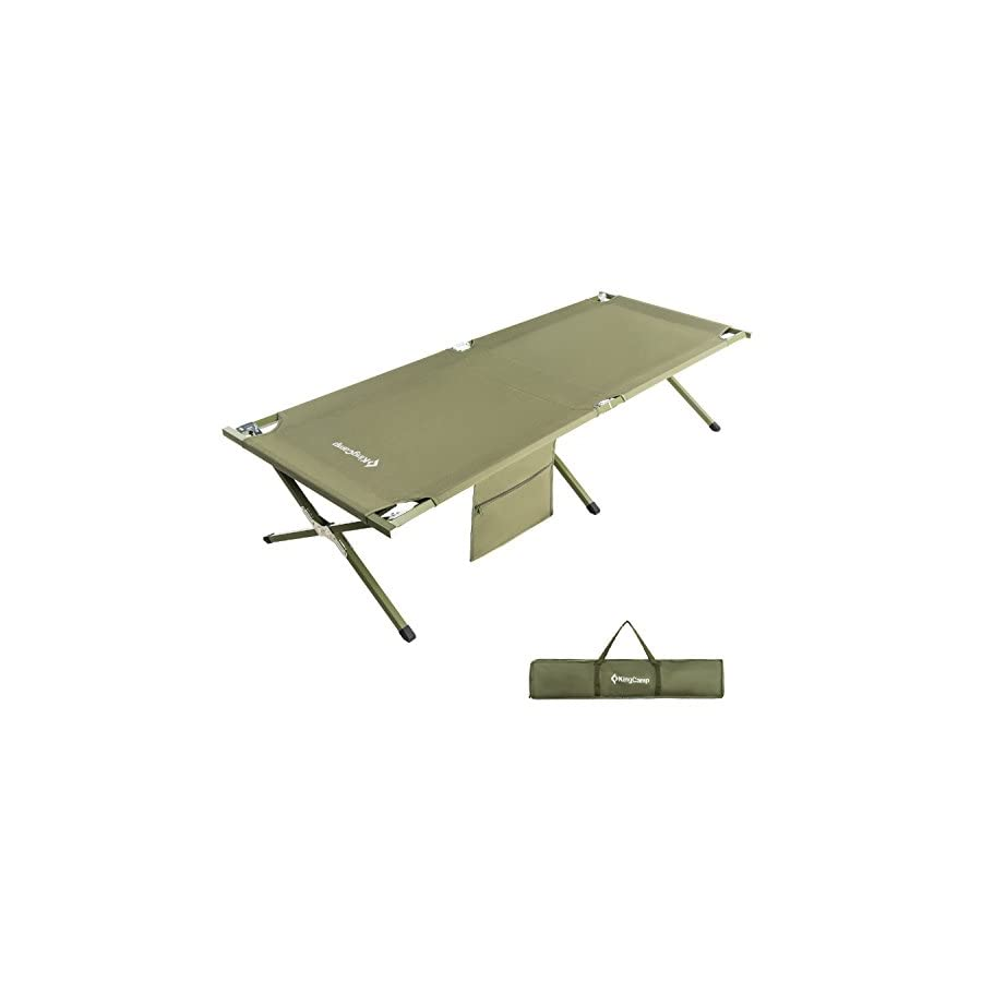 KingCamp Camping Cot OVERSIZED Heavy Duty Folding Bed Anodized Steel ...