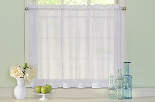 HLC.ME White Sheer Voile Window Kitchen Tiers - Valance - for Kitchen Windows, Living room, Bedroom, & Bathroom - 54