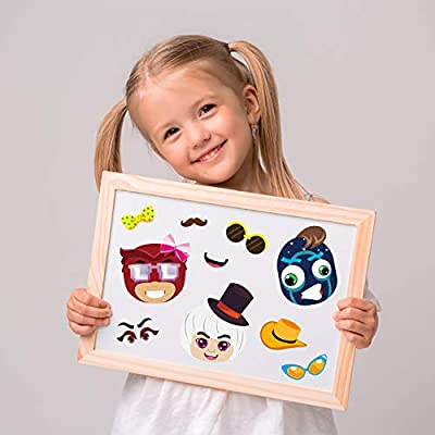 DIY PJ Face Sticker Fun DIY Project Kids Craft Game PJ Hero Themed Party Supplies Baby Shower Game Birthday Party Gift Boys Room Decoration ANGOLIO 36Pcs PJ Cartoon Hero Make a Face Stickers for Kids
