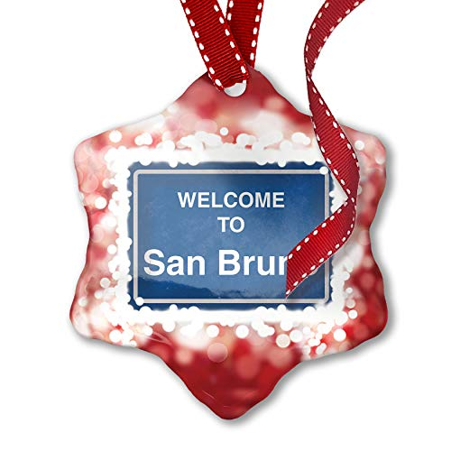 NEONBLOND Christmas Ornament Sign Welcome to San Bruno, ()