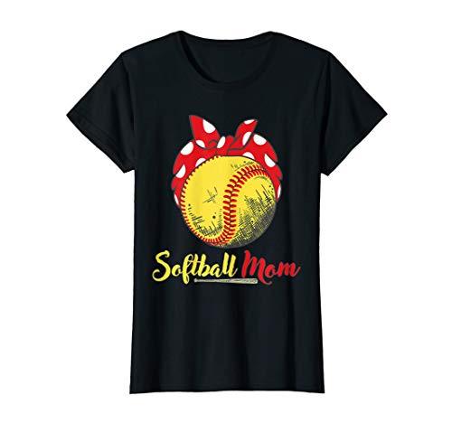 Womens US Flag Softball Player Mom T-Shirt Mother's Day Gift Shirt ()