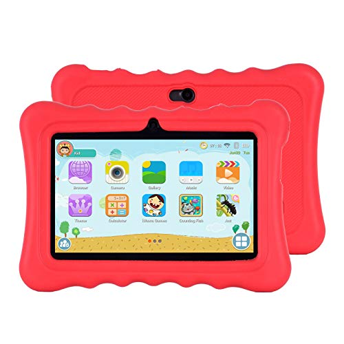 Xgody T702 7 Inch HD Kids Tablet PC for Kids Quad Core Android 8.1 1GB RAM 16GB ROM Touch Screen with WiFi Pre-Loaded 3D Game Dual Camera Red