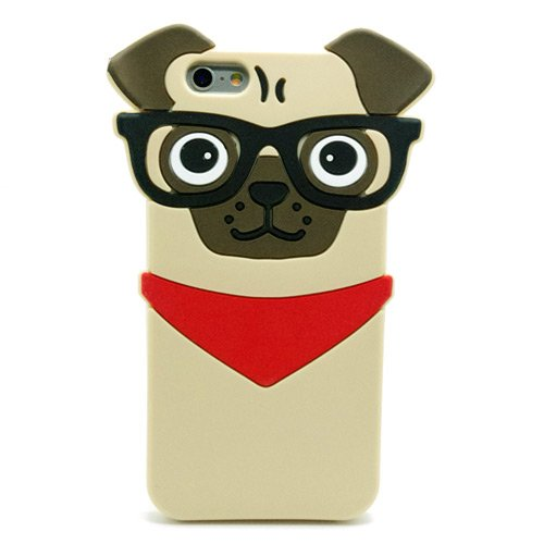 Iphone 6 6s Case, Hot Stylish 3D Cute Cartoon Hipster Pug Dog Silicone Case for Iphone 6 6s 4.7