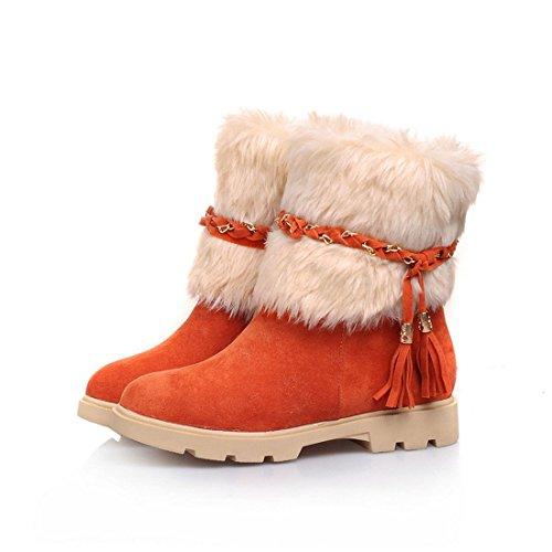 Susanny Women's Winter Fashion Warm Short Booties Casual Outdoor Suede Flat Heel Waterproof Faux Fur Orange Snow Boots 5.5 B (M) (Fur Heel Boots)