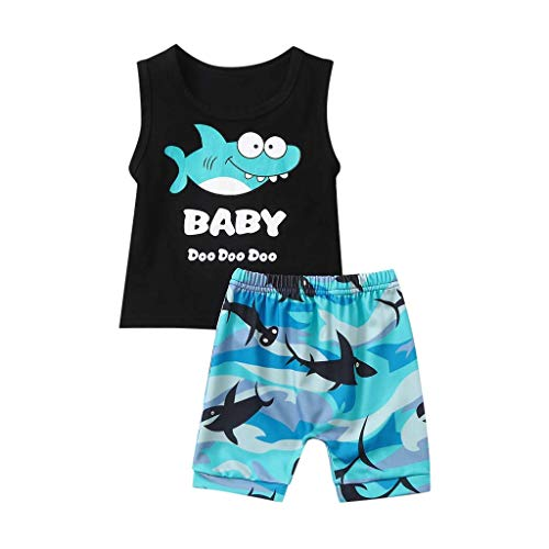 2Piece Toddler Baby Boys Girls Outfits Set,Sleeveless Cartoon Shark Print Vest Tanks Top Short Pants Suit 0-3Y Blue