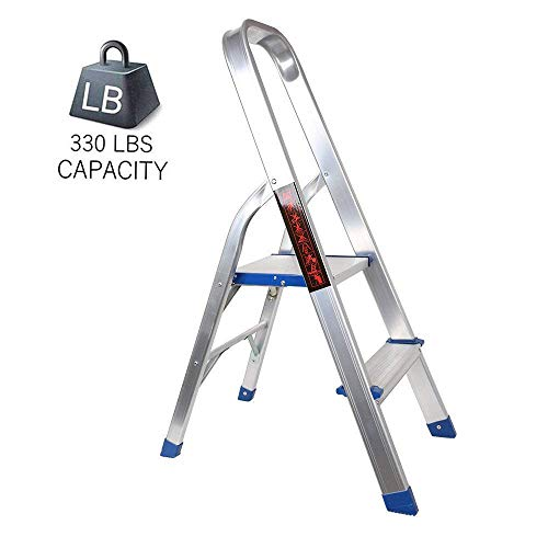 Dporticus Portable 2 Step Non-Slip Aluminum Ladder Folding Platform Stool with 330 lbs Load Capacity Silver,15.7