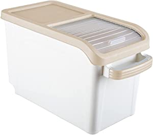 Pretty Styles Storage Box Food Container - 10kg Rice Storage Box Grain Cereal Dispenser Flip Lid Food Organizer Container Rice Container Portable Organizer Kitchen Tools, (01)