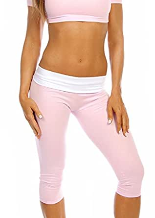 Sexy Roll Down Sport Band Stretch To Fit Shred Capri Yoga Leggings - Baby Pink/White - Small