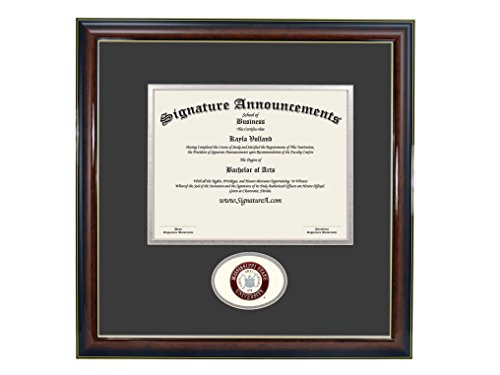 Signature Announcements Mississippi State University (MSU) Undergraduate and Graduate Graduation Diploma Frame with Sculpted Foil Seal (Gloss Mahogany w/Gold Accent, 16 x 16)