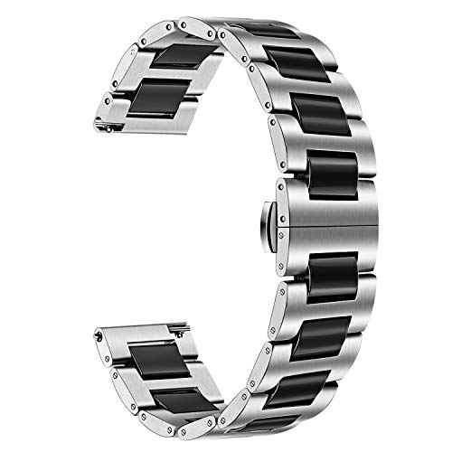 for Galaxy Watch 46mm (SM-R800) Bands, TRUMiRR 22mm Ceramic + Stainless Steel Watchband Quick Release Strap Wrist Bracelet for Samsung Gear S3 Classic/Frontier, Gear 2 Neo ()