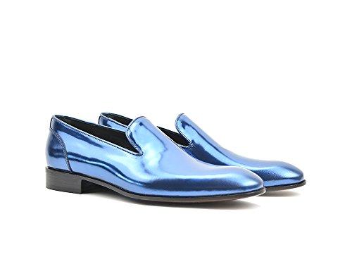 DIS Casanova - Mocassino Uomo Pelle Laminato Blu Mocassino personalizzato laminato blu, fatto a mano e su misura, made in Italy.