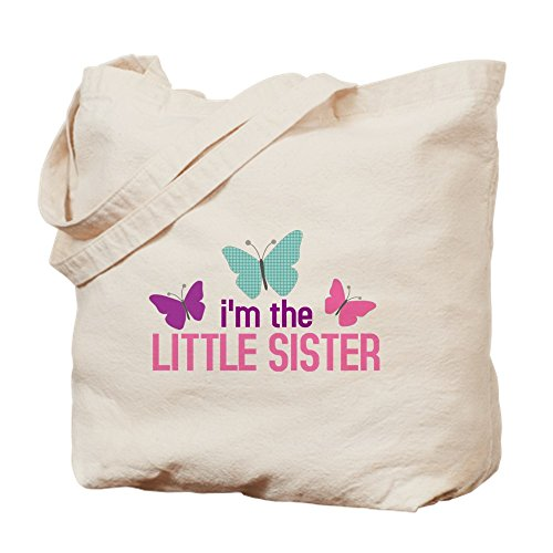 CafePress - I'm The Little Sister Butterfly - Natural Canvas Tote Bag, Cloth Shopping Bag Sis Custom Fabric