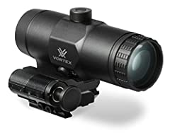 Offering 3x magnification along with durable construction, the Vortex VMX-3T with included Flip Mount can quickly add extended range ability to red dot sights. The VMX-3T is easy to use and does not require any special sight-in—just zero-in t...