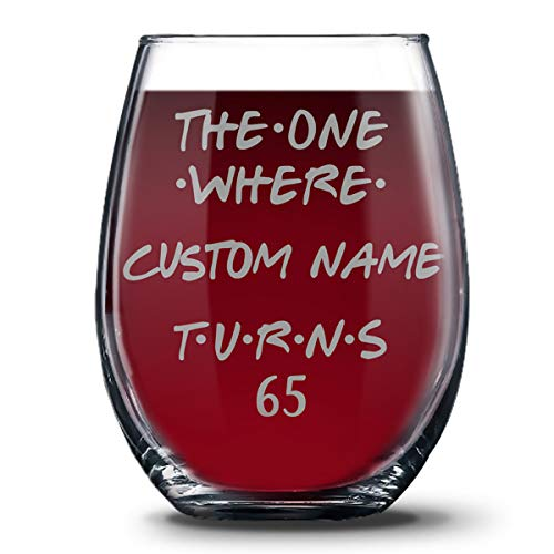Personalized 65th Birthday 21 oz Stemless Glasses for Women and Men, Happy 65 Birthday Gift, 65 Years Birthday Wine Glass, 65th Birthday Party Decoration Gift Ideas For Her or Him -
