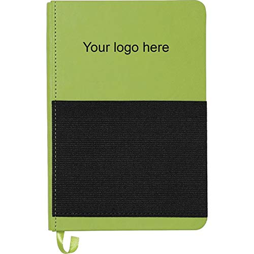 5'' x 7'' Elastic Phone Pocket Notebook - Lime Green - 100 Quantity - $5.86 Each - Promotional Product/Bulk / with Your Customized Branding