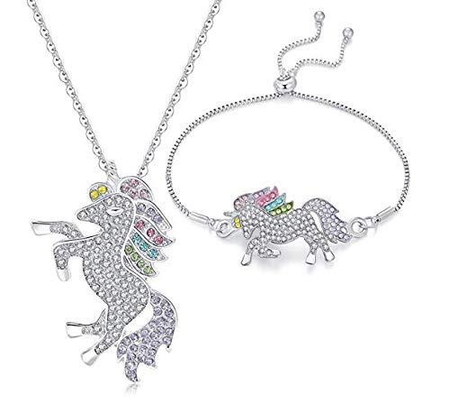 (BeeChamp Rainbow Unicorn Necklace Pendant Wrist Bracelet Set for Young Girls Fashion Crystal Rhinestone Jewelry Party Gift for Women)