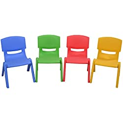 Costzon Kids Chairs, Stackable Plastic Learn and Play Chair for School Home Play Room, Colorful Chairs for Toddlers, Boys, Girls