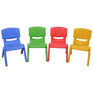 Amazon Com Set Of 4 Kids Plastic Chairs Stackable Play