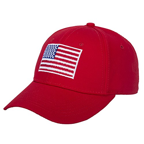 American Flag Hat Embroidered 100% Cotton Adjustable Strap Baseball Caps (red)