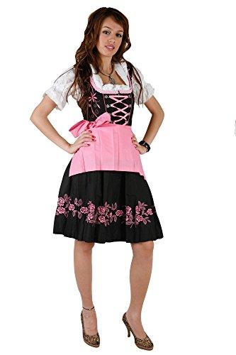 3tlg. Stickrosen Dirndl Set Schwarz Pink mit Bluse und Schürze, Gr. 44