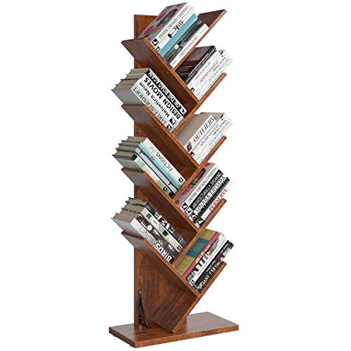 Homfa Tree Bookshelf, 9-Shelf Bookcase Rack, Free Standing Book Storage Organizer, Books/CDs/Albums/Files Holder in Living Room Home Office, Walnut(Large)