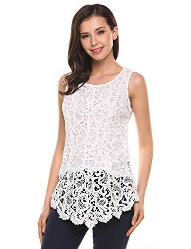 Zeagoo Women's Sexy Chic Lace Shirt Fashion Sleeveless Blouse Tops