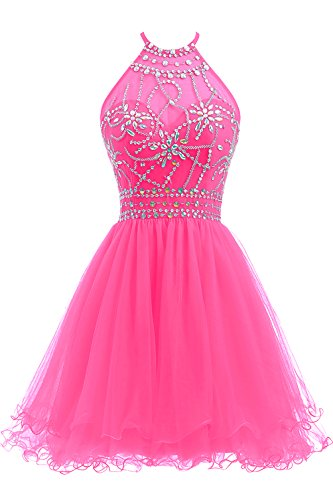 Ellames Women's Beaded Halter Homecoming Dress Short Tulle Prom Dress Hot Pink US 8