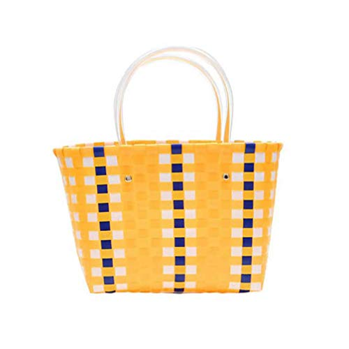 - Woven Pvc Shopping Snack Toy Storage Shopper Bags Basket Beach Tote Fashion Bag For Women Outdoor B