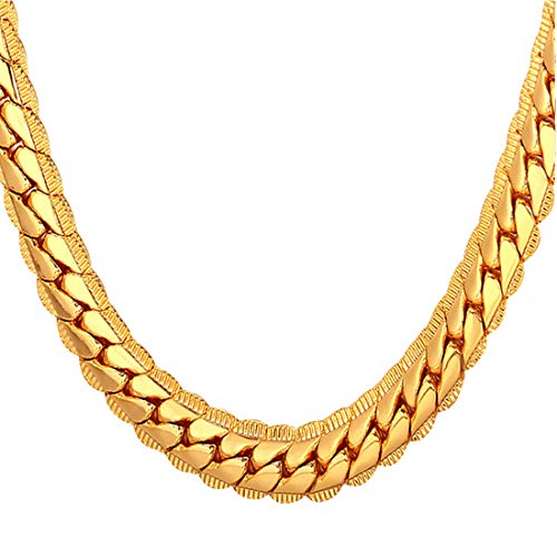 U7 Men Women 18K Gold Plated Chain 18KGP Stamp Fashion Hip Hop Jewelry Boys 6MM Wide Unique Snake Curb Chain Necklace, 26 Inch (Real Hip Hop Jewelry)