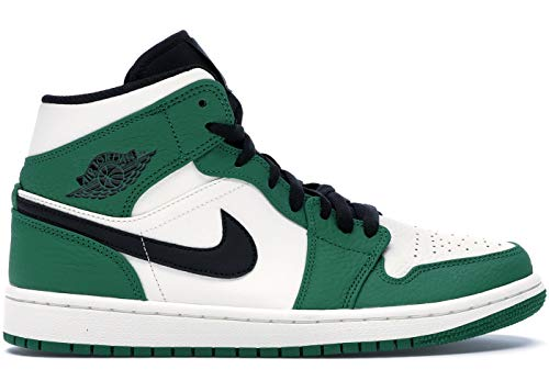 Jordan Mens Air 1 Mid SE Leather Synthetic Pine Green Sail Black Trainers 9.5 US