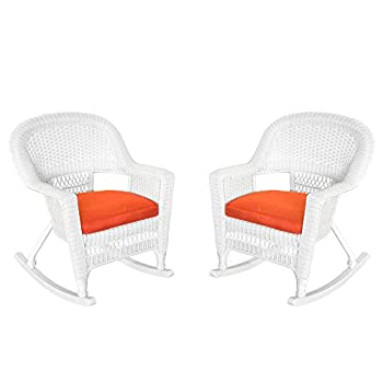 Jeco Inc. Jeco W00206R-B_2-FS018 Rocker Wicker Chair with Red Cushion, Set of 2, White