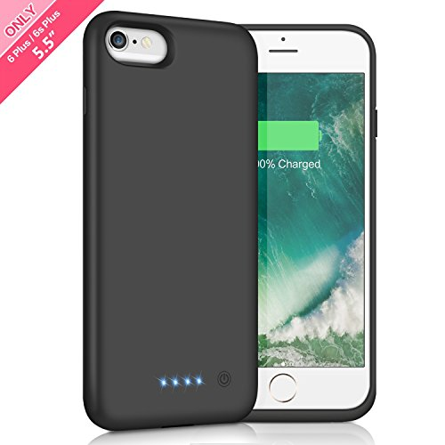 Battery Case for iPhone 6s Plus / 6 Plus 8500mAh,HETP Rechargeable External Charging Case for iPhone 6 Plus 6s Plus Protective Battery Pack Apple Portable Power Bank (5.5 inch ) - Black