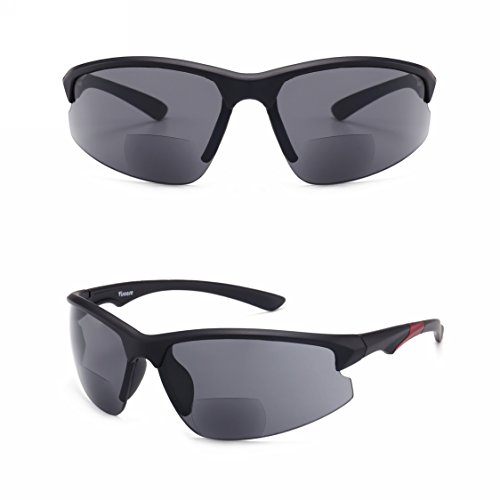 Amazing Good Quality! Ultra-light Viscare Men Women Bifocal Sport Wrap Sunglasses with readers (Black Red, - Glasses From Costco