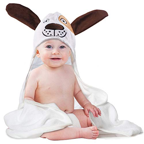 Baby Hooded Towel, Extra Soft Hooded Towels for Baby Shower, Organic Bamboo Baby Bath Towels for Boys and Girls, Large 35Inch x 35Inch (Cute Puppy)