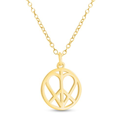 Azaggi 14k Gold Plated Sterling Silver Handcrafted Heart in Peace Sign Hippie Love Pendant Necklace (24)