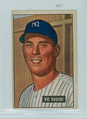 1951 Bowman Baseball 25 Vic Raschi Good to Very Good (2 1/2 out of 10) by Mickeys Cards