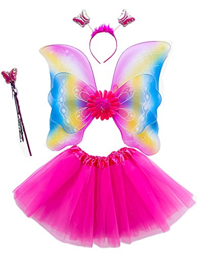 Party Godmother Costumes (Lujuny Rainbow Fairy Wing Costume Set - Butterfly Wings, Tutu, Wand and Headband (Rainbow Rosered))