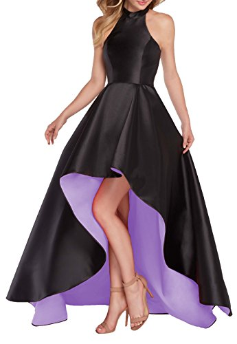 YORFORMALS Women's Halter High Low Satin Evening Prom Dress Long Asymmetrical Ball Gown Lace Up Back Size 16 Black/Lavender