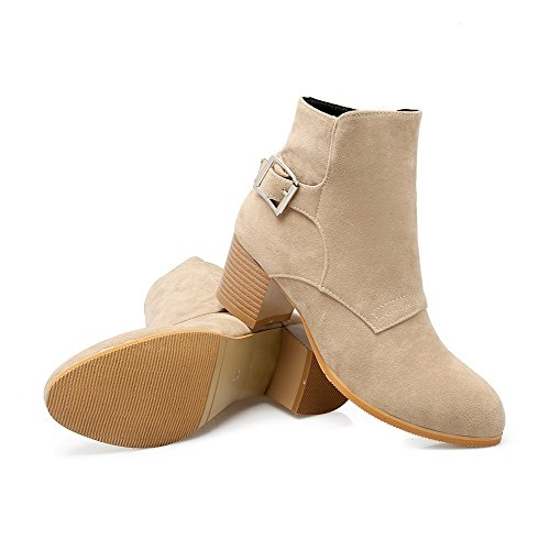 AllhqFashion Womens Frosted Round Closed Toe Solid Low-Top Kitten-Heels Boots Beige reYyn