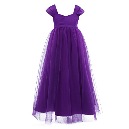 iEFiEL Girls Tulle Flower Girl Dress Princess Pageant Wedding Bridesmaid Gown Purple 10