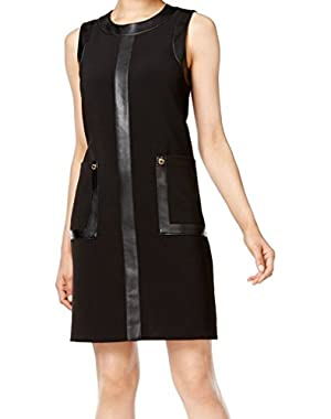 Calvin Klein Women's Shift Faux-Leather Pocket Dress Black 12