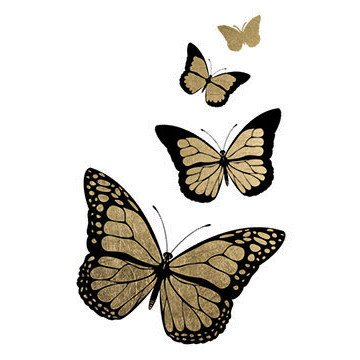 Gold Monarch Cluster Temporary Tattoos (5-Pack) | Skin Safe | MADE IN THE USA| Removable