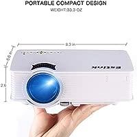 Mini Proyector LED 1080P, 1200 Lúmenes y 800*480 Resolución, con Interfaz de HDMI VGA USB, 3W Altavoz, Tamaño de Imagen 120