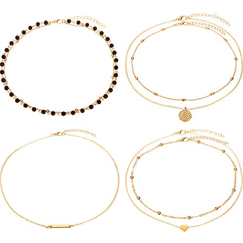 BBTO 4 Pieces Layered Pendant Choker Necklace Gold Layering Chain Choker for Women Girls (Style F)