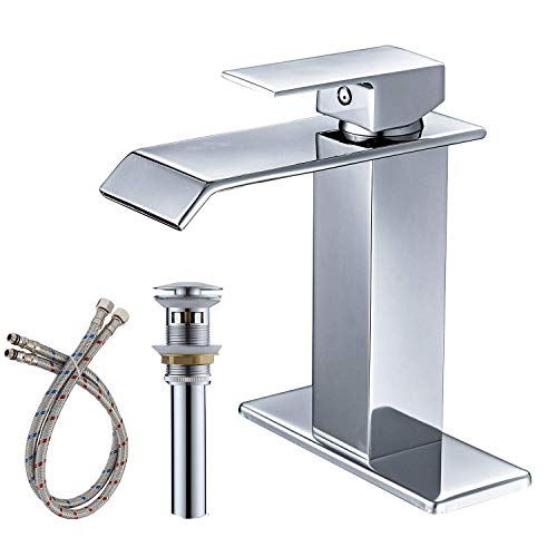 - BWE Chrome One Hole Single Handle Square Waterfall Bathroom Sink Faucet Lavatory Faucets Commercial